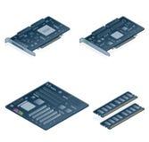 Geplaatste de Pictogrammen van de Hardware van de computer - de Elementen van het Ontwerp 55n Royalty-vrije Stock Afbeelding