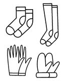Geplaatste de pictogrammen van de het overzichtsillustratie van handschoensokken Stock Afbeeldingen
