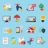 Geplaatste de Pictogrammen van de huisbegroting stock illustratie