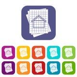 Geplaatste de pictogrammen van de huisblauwdruk Royalty-vrije Stock Foto's