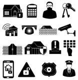 Geplaatste de pictogrammen van de huisveiligheid Stock Afbeeldingen