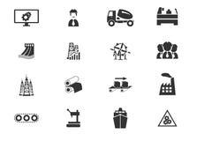 Geplaatste de pictogrammen van de industrie Stock Afbeeldingen