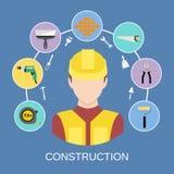 Geplaatste de pictogrammen van de ingenieursbouwer Stock Fotografie