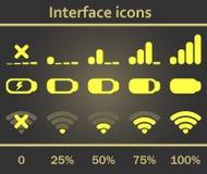 Geplaatste de pictogrammen van de interface Royalty-vrije Stock Fotografie
