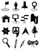 Geplaatste de pictogrammen van de kaartnavigatie Stock Fotografie