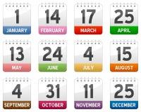 Geplaatste de Pictogrammen van de kalender Stock Afbeelding