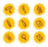 Geplaatste de pictogrammen van de kantoorbehoeften Stock Foto's