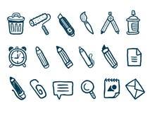 Geplaatste de pictogrammen van de kantoorbehoeften Royalty-vrije Stock Foto's