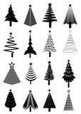 Geplaatste de pictogrammen van de kerstboom Royalty-vrije Stock Foto's