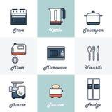 Geplaatste de pictogrammen van de keuken Stock Afbeelding