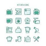 Geplaatste de pictogrammen van de keuken Royalty-vrije Stock Afbeeldingen