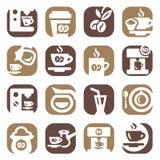 Geplaatste de pictogrammen van de kleurenkoffie Stock Foto's