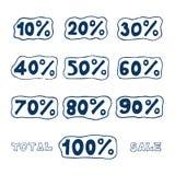 Geplaatste de pictogrammen van de korting Stock Foto's