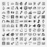 Geplaatste de pictogrammen van de krabbelmuziek Stock Afbeelding