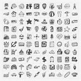 Geplaatste de pictogrammen van de krabbelreis Stock Afbeelding