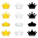 Geplaatste de pictogrammen van de kroon Stock Foto's