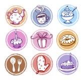 Geplaatste de pictogrammen van de maaltijd en van de keuken Stock Afbeeldingen