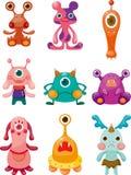 Geplaatste de pictogrammen van de Monsters van het beeldverhaal Stock Afbeelding