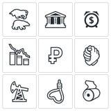 Geplaatste de pictogrammen van de muntdevaluatie Stock Foto's