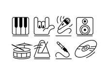 Geplaatste de pictogrammen van de muziek stock afbeeldingen