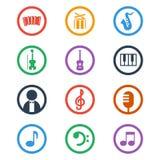 Geplaatste de pictogrammen van de muziek De vectorillustratie van de kleur Stock Afbeeldingen
