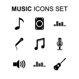 Geplaatste de pictogrammen van de muziek Vector illustratie Royalty-vrije Stock Foto's