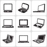 Geplaatste de Pictogrammen van de notitieboekjecomputer Royalty-vrije Illustratie