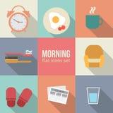 Geplaatste de pictogrammen van de ochtendtijd stock illustratie
