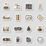 Geplaatste de pictogrammen van de olieindustrie Stock Afbeeldingen
