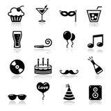 Geplaatste de pictogrammen van de partij - verjaardag, Nieuwjaar, Kerstmis Stock Afbeelding