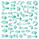 Geplaatste de pictogrammen van de pijl Stock Foto's