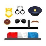 Geplaatste de pictogrammen van de politie Symbolenpolitieagent Cop toebehoren in vlak varkenskot Stock Afbeelding