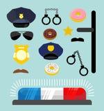 Geplaatste de pictogrammen van de politie Symbolenpolitieagent Cop toebehoren in vlak varkenskot Royalty-vrije Stock Foto's