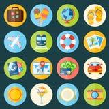 Geplaatste de pictogrammen van de reis Stock Foto's