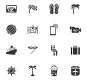 Geplaatste de pictogrammen van de reis Stock Foto