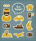 Geplaatste de pictogrammen van de reis en van de vakantie Royalty-vrije Stock Afbeelding