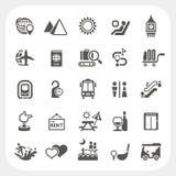 Geplaatste de pictogrammen van de reis en van de Vakantie Stock Fotografie