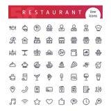 Geplaatste de Pictogrammen van de restaurantlijn Stock Afbeelding