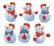 Geplaatste de pictogrammen van de sneeuwmanemoties van de winterkerstmis royalty-vrije illustratie