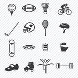 Geplaatste de pictogrammen van de sport Illustratie Stock Afbeeldingen