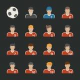 Geplaatste de pictogrammen van de sportvoetbal Stock Foto's