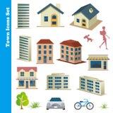 Geplaatste de pictogrammen van de stad Stock Foto