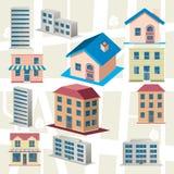 Geplaatste de pictogrammen van de stad Stock Foto's