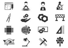 Geplaatste de pictogrammen van de techniek Stock Foto's