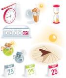 Geplaatste de pictogrammen van de tijd en van de kalender Stock Foto's