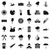 Geplaatste de pictogrammen van de tuinboom, eenvoudige stijl Royalty-vrije Stock Foto