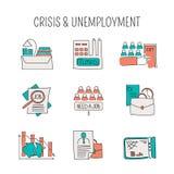 Geplaatste de pictogrammen van de Unemployementlijn Stock Foto