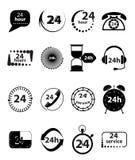 24 Geplaatste de Pictogrammen van de uurdiensten Royalty-vrije Stock Fotografie