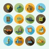 Geplaatste de pictogrammen van de verontreiniging Stock Foto's