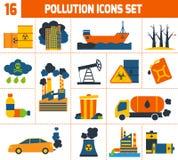 Geplaatste de pictogrammen van de verontreiniging vector illustratie